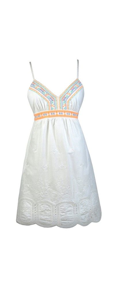 Lily Boutique Bright Touch Embroidered White Sundress, $36 Cute White Sundress, Embroidered White Dress, Little White Dress, White Summer Dress, Cute Summer Dress, Cute Embroidered Dress, White Babydoll Dress www.lilyboutique.com