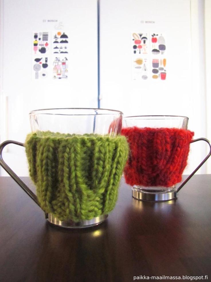 Knitted mug cozies