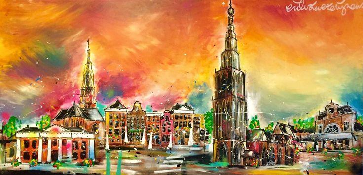 """""""Groningen"""" een geweldig nieuw doek met de mooie afmeting van 80 x 160 cm!"""