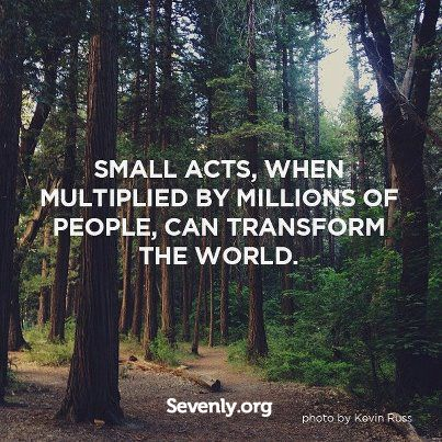 """Small acts, when multiplied by millions of people, can transform the world."" Amazing quote backed by an amazing charity Sevenly.org"