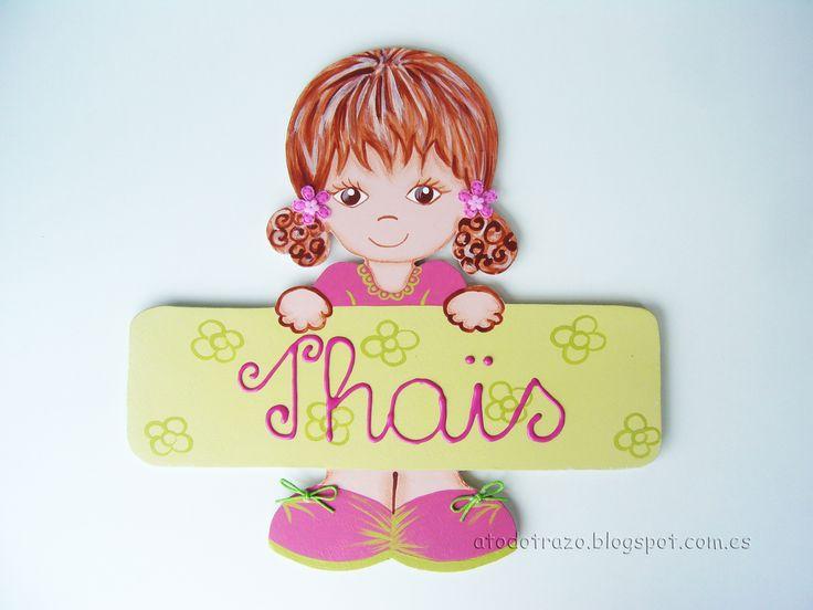 Placa puerta niña fucsia pistacho  http://atodotrazo.blogspot.com.es/