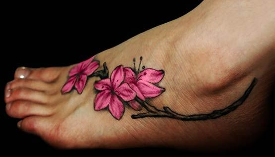 Pink Flower Ankle Tattoo
