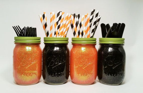 Halloween Decor, Halloween Centerpieces, Halloween Marson Jars Centerpieces, Orange and Black Decor, Fall Wedding, Halloween Party, Set of 4