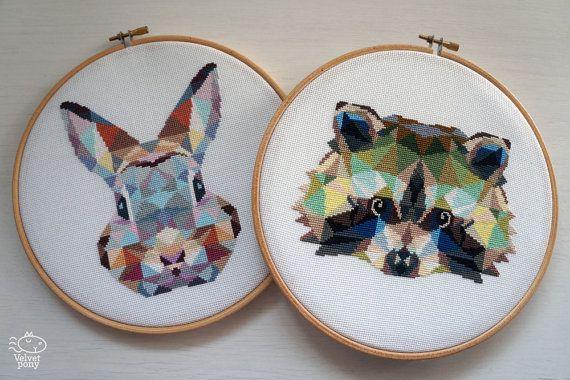 Ensemble! Lapin et raton laveur moderne au point de croix motifs PDF. Origami de modèles de point de croix. Motifs de broderie animaux géométriques