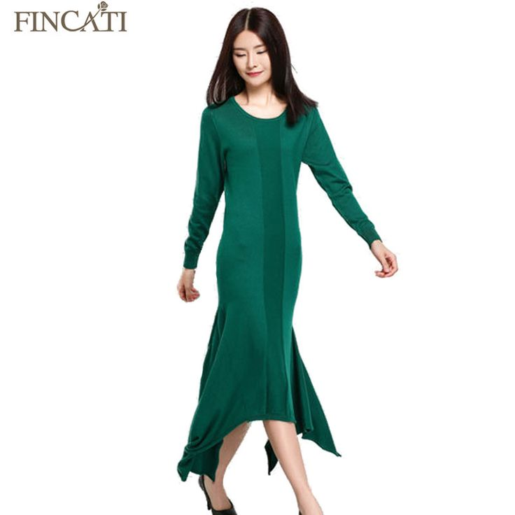 Women's Cashmere Blend Mermaid Long Dress Spring Autumn New Solid Color Mid-Calf Elegant Knitted Wool Fishtail Dresses Sweater