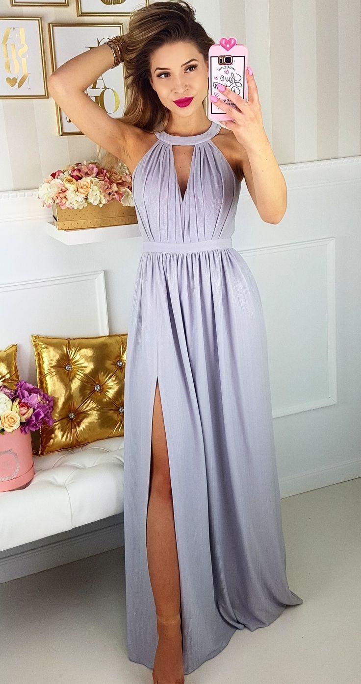 Długa szara/ srebrna sukienka rzymianka.  Idealna sukienka na wesele. #maxidress #bridesmaiddress #sukienka dla druhny