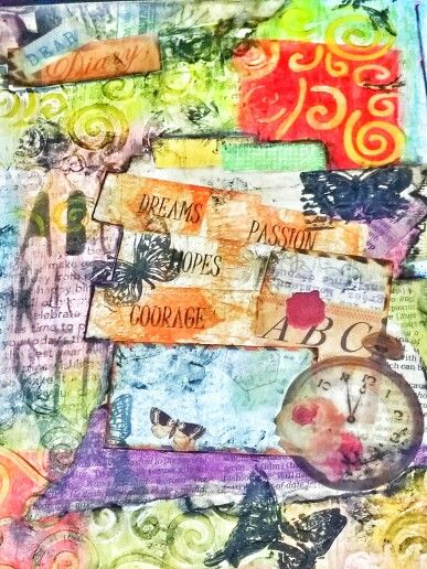 Color blocking using faber castell gelatos.  Mixed media art journal.