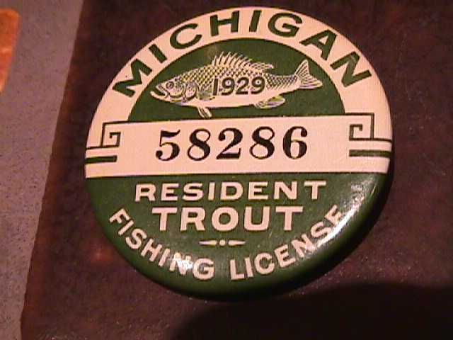 Vintage 1929 michigan trout fishing license badge pinback for Fishing license mi