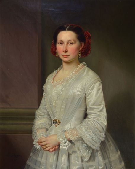 """""""Julius Schoppe Half portrait of a young woman in a white silk dress,1855 oil / canvas, 95x68cm Signed Private collection Image via MutualArt"""""""
