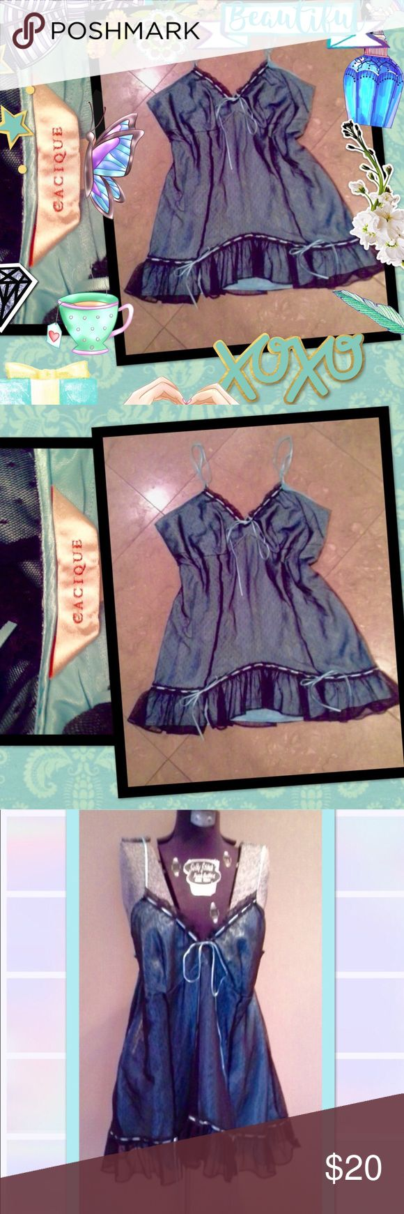 Beautifl Cacique Aqua&Blk cami/lingerie sz18/20 Beautiful Cacique black lace with aqua blue satiny camisole tunic or lingerie nighty in sz 18/20 like new! This world be pretty worn even as a top with black cardigan sweater and jeans it has sweet satin ribbon ties with bows so pretty and feminine like from a lovely French Parisian bouduaire or boutique!⚜⚜💄👠👛🌹🌹🎀💙💘⚜⚜ Cacique Intimates & Sleepwear Chemises & Slips