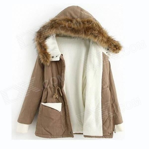 Color: Khaki; Size: Free Size; Model: WZ-118; Quantity: 1 Piece; Material: Blended; Style: Casual; Shoulder Width: 48 cm; Chest Girth: 104 cm; Sleeve Length: 63 cm; Total Length: 68 cm; Suitable for Height: 165~170 cm; Packing List: 1 x Cotton-padded clothes; http://j.mp/1toBnel