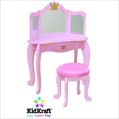 Kidkraft Princess Kids Makeup Wood Vanity Table And Stool For Girls With Mirror 76125