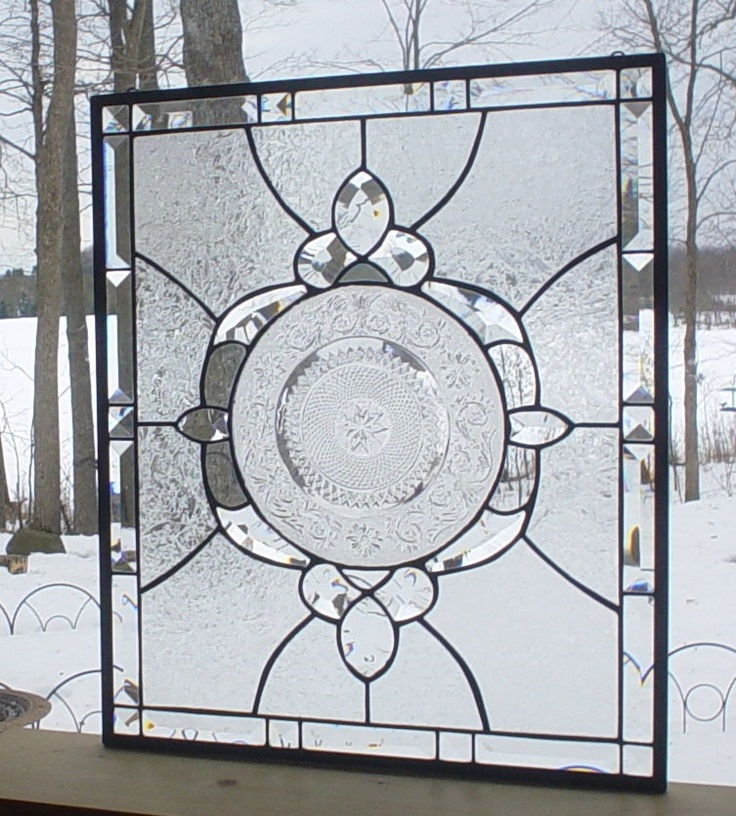stained glass panel window vintage plate  Crystal Medallion clear.