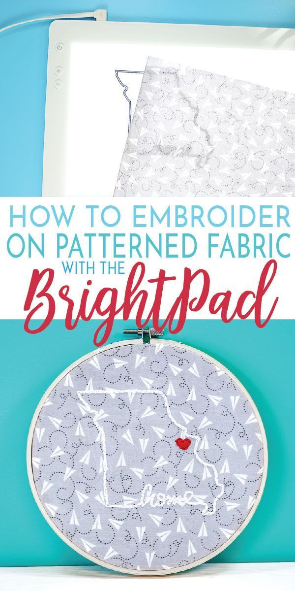Embroidery On Patterned Fabric With The Cricut Brightpad In 2020 Cricut Brightpad Hoop Projects Fall Crafts