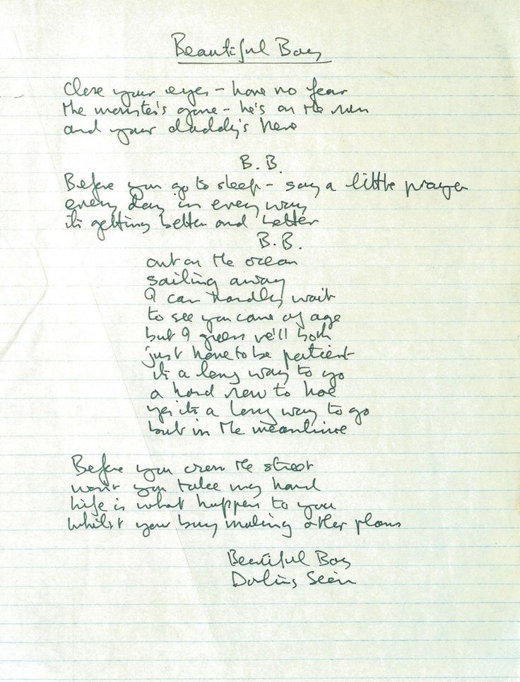 "thebeatals: "" John Lennon's hand written lyrics for ""Beautiful Boy."" """