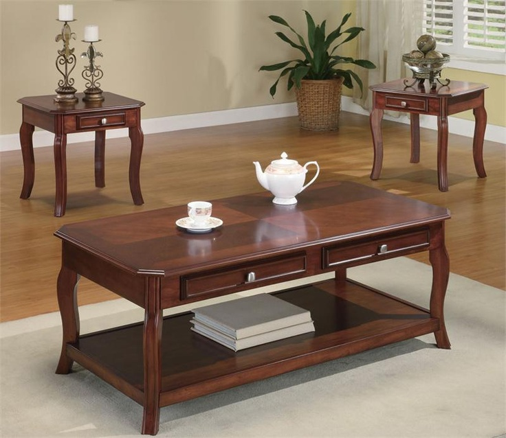 Casual Warm Brown Cherry Coffee Table Set