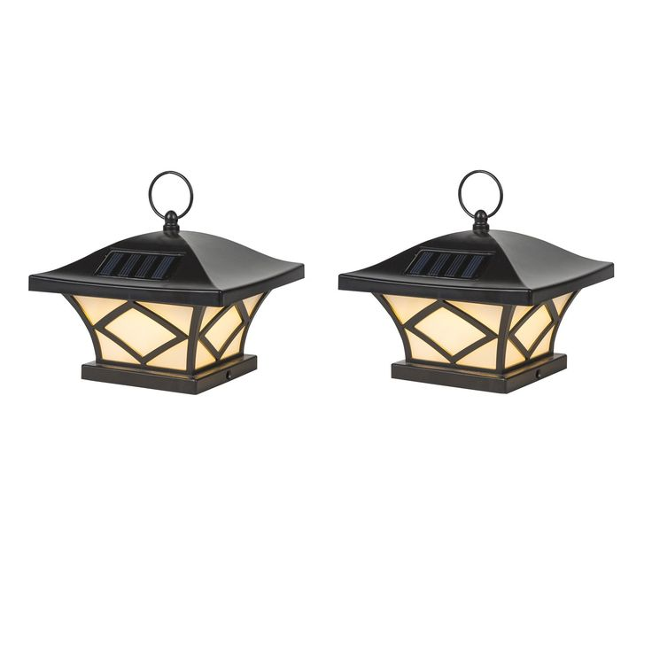 Set of 2 Traditional Solar Post Lights (SEE Product Dimensions), Black (Plastic)