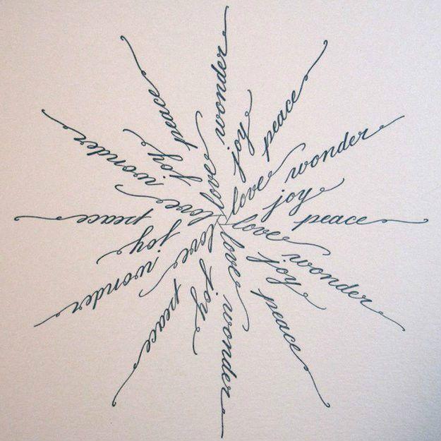 Calligraphy Snowflake Card   Handmade Calligraphy Christmas Cards