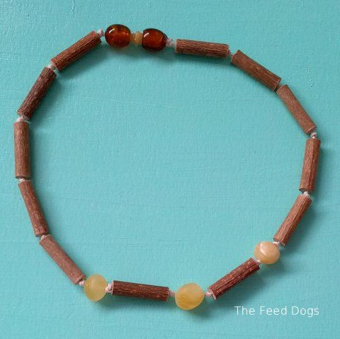 Hazelwood and Raw Baltic Amber Teething Necklace    by TheFeedDogs, $20.00