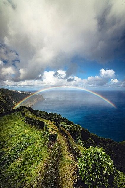 In Hawaiian mythology, it is said that the rainbow is the bridge in which spirits come down from the heavens to visit the earth.