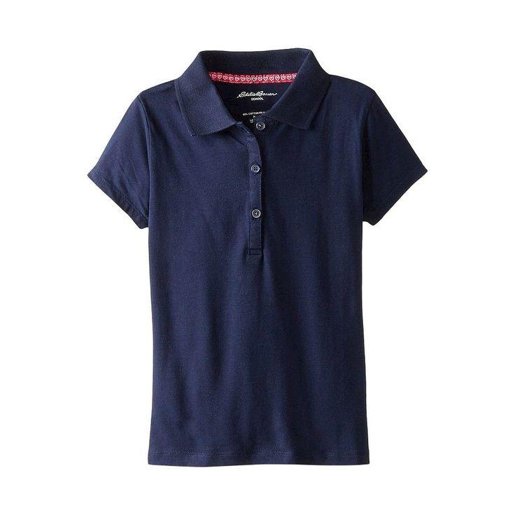 Eddie Bauer Girls' Stretch Knit Polo Navy (Blue) 10, Girl's, Size: 10-12