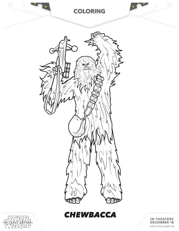 Disney Coloring Pages Star Wars : Star wars the force awakens chewbacca coloring page
