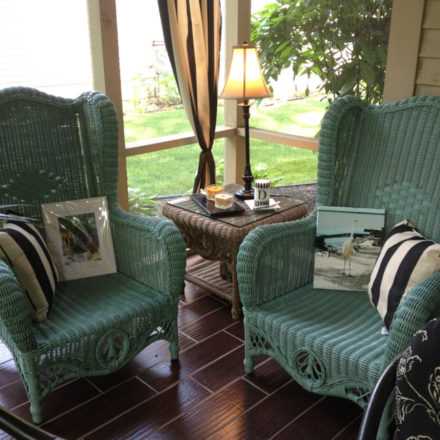 Wicker chairs painted