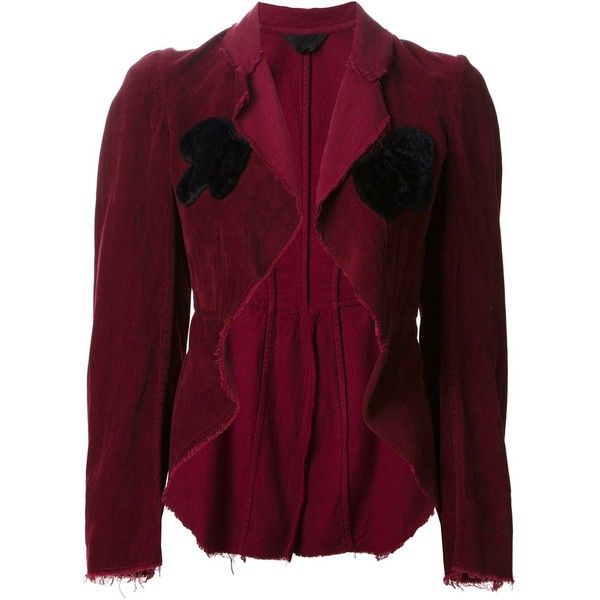 Comme Des Garçons Vintage asymmetric velvet jacket ($850) ❤ liked on Polyvore featuring outerwear, jackets, red, comme des garcons jacket, flared jacket, open front jacket, purple jacket and vintage jackets