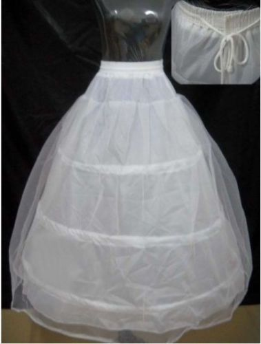 New White 6-HOOP Petticoat Wedding Gown Crinoline Petticoat Skirt Slip/3-HOOP