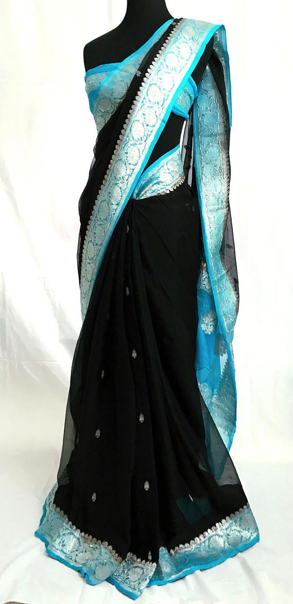 Pure Chiffon / Georgette Handloom Saree with Silver Tone Zari