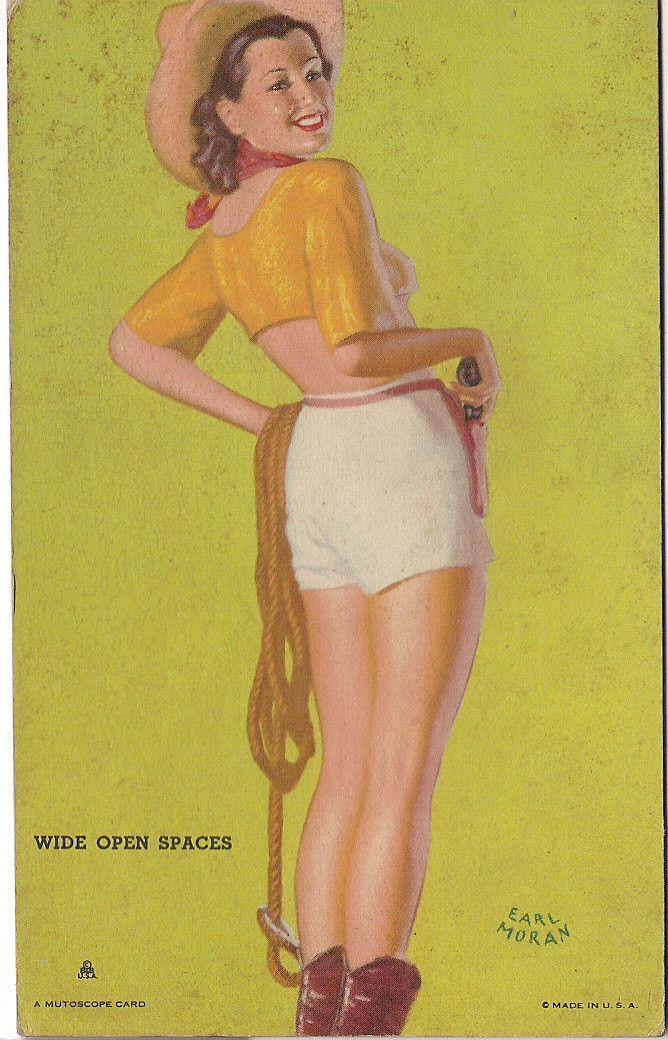 "Original 1940s EARL MORAN Wide Open Spaces Girls with Guns MUTOSCOPE Arcade card ""Hotcha Girls"" series"
