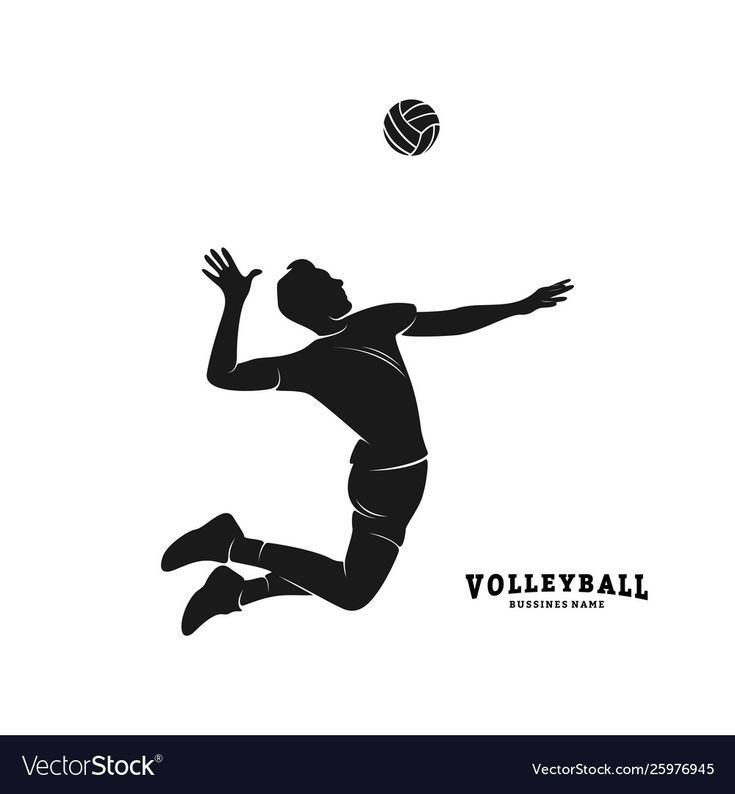 Volleyball Player Black Silhouette Various Poses Stock