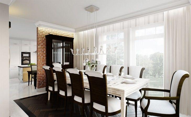 Wystrój jadalni w klasycznym stylu. Eleganckie meble, drewniany parkiet, ceglana ściana i piękne dekoracyjne lampy nadają szyku.
