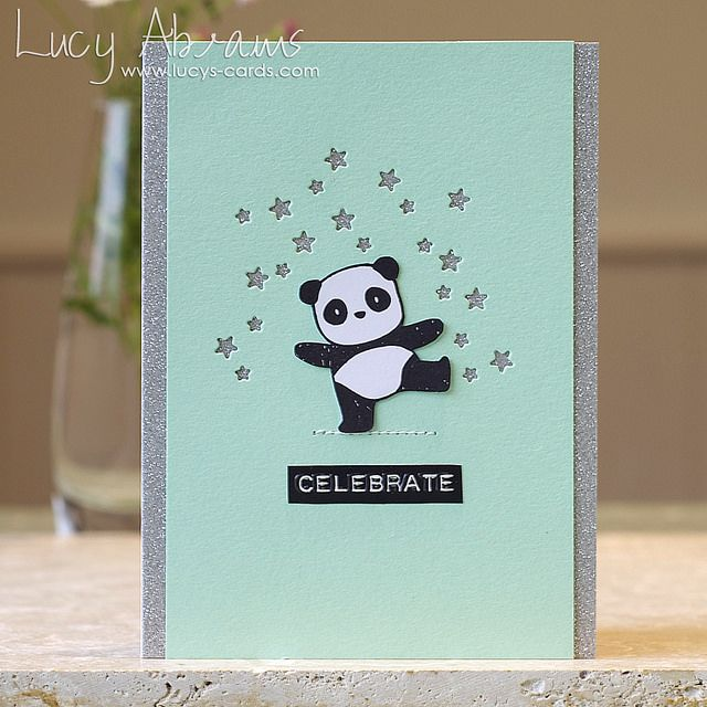 Celebrate by Lucy Abrams— Pandamonium stamps from Mama ElephantI combined with the tiny star dies from Simon Says Stamp, a Cosmo Cricket sticker, silver glitter card, and Audrey Blue cardstock.
