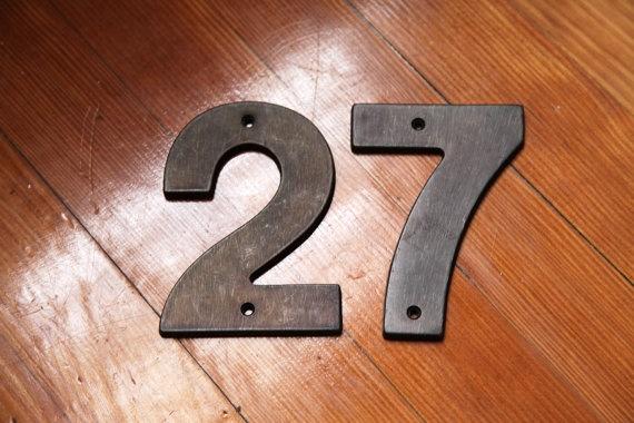 Vintage Brass House Numbers 2 and 7 Pair by DenasaurusVintage, $18.00