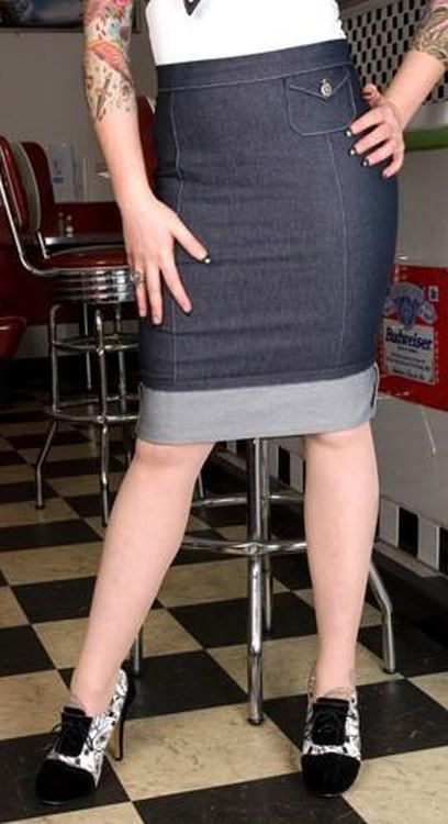 Miss Fortune Signature Denim Pencil Skirt
