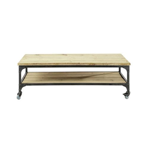 Wood and metal industrial coffee table on castors W 110cm  £148