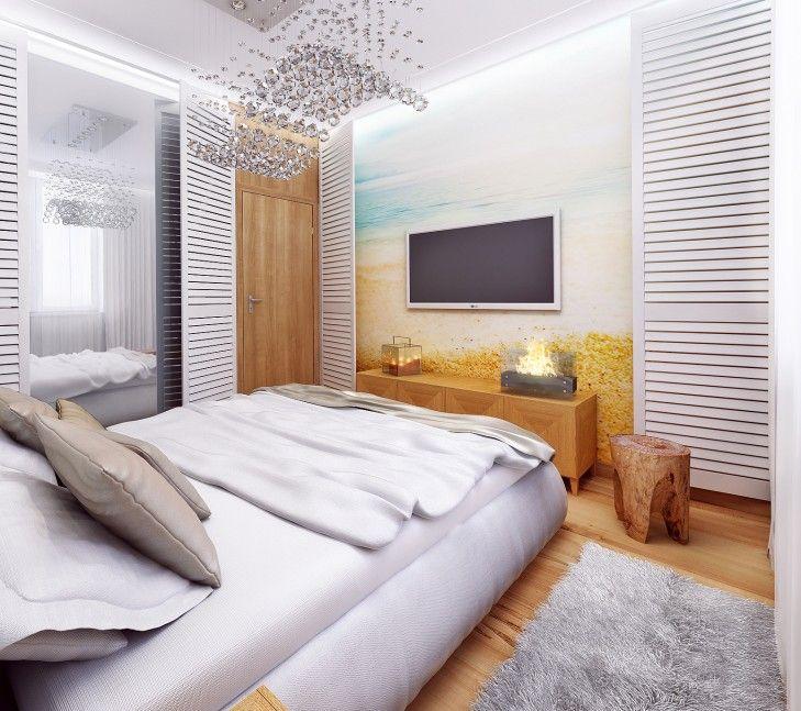 Aranżacja sypialni  w wakacyjnym wydaniu – Tissu. Dzięki shuttersom i fototapecie można poczuć się jak w domku przy plaży. http://www.tissu.com.pl/zdjecia/344