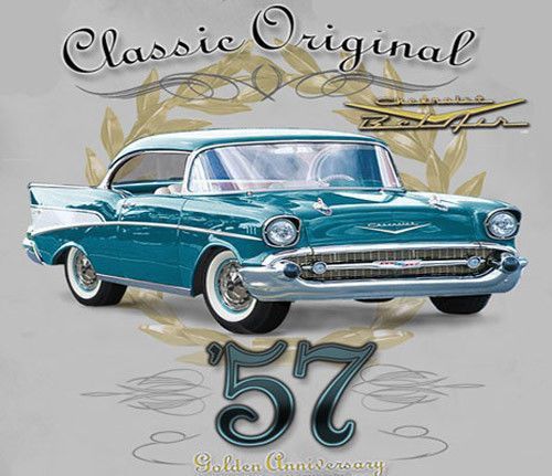 Gm Chevrolet Bel Air Original Classic Silver Adult T Shirt 57