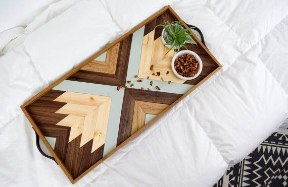 Beautiful handcrafted wood tray with leather handles. This modern wood serving tray makes a beautiful handcrafted gift! #AD