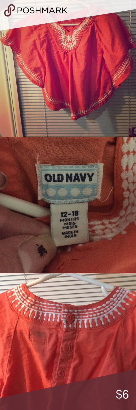 Old navy tunic thing I'm not sure what it's called Peachy orange in color, kind of boho look, embroidered in white around edges, never worn, great condition Old Navy Shirts & Tops Blouses