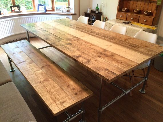 Scaffold Dining Table and Bench - Reclaimed scaffold board top with scaffold pole effect legs