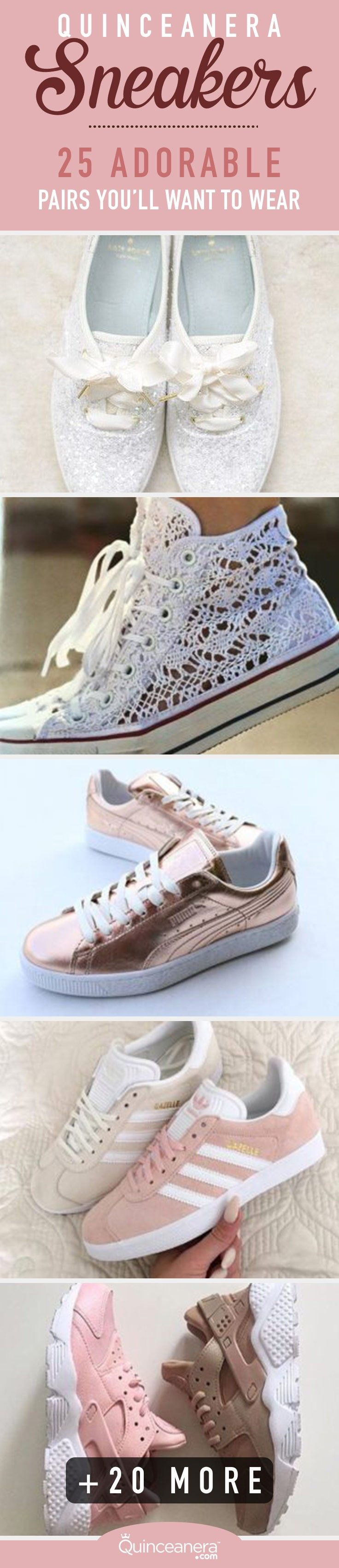 Take a look at the quinceanera sneakers that were transformed from sporty to super cute & girly!