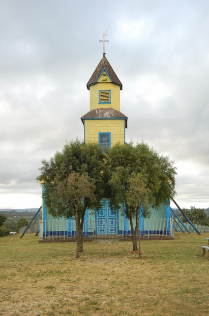 Church in center of Llaulao, Isla Chiloe, Chile