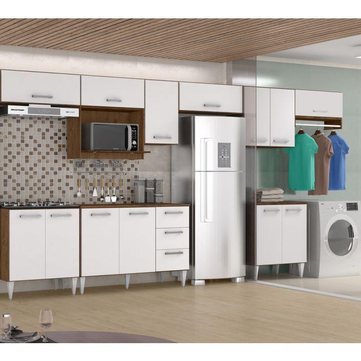 Cozinha Modulada 10 Pecas Milena 2742 Marrom Branco Milani