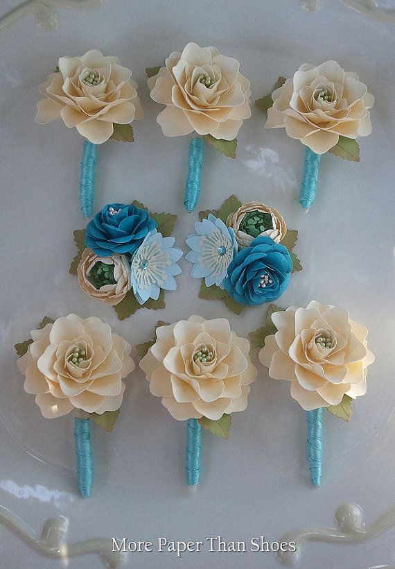 Handmade Paper Flowers - Wedding Corsages and Boutonniere Set -  Custom Colors - Made To Order
