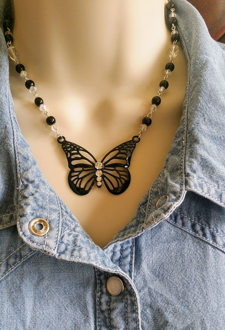Black butterfly necklace, beaded butterfly, butterfly jewellery, pendant, glass bead jewelry, statement necklace, unique gifts, for her by Warrendertreasures on Etsy https://www.etsy.com/listing/159998095/black-butterfly-necklace-beaded