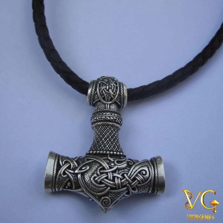 Double Sided - Sterling Silver Celtic Thors Hammer Pendant Only or Necklace Mj/ölnir Small