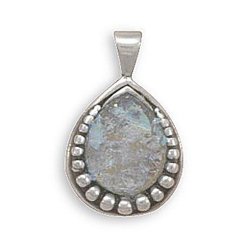 Sterling Silver Pear Shape Ancient Roman Glass Pendant with Bead Design West Coast Jewelry. $47.95. Save 50%!