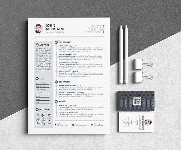 Resume/CV-John Abraham by Whitegraphic on @creativemarket Professional printable resume / cv cover letter template examples creative design and great covers, perfect in modern and stylish corporate business design. Modern, simple, clean, minimal and feminine style. Ready to print us letter and a4 layout inspiration to grab some ideas. In psd, indd, docs, ms word file format.